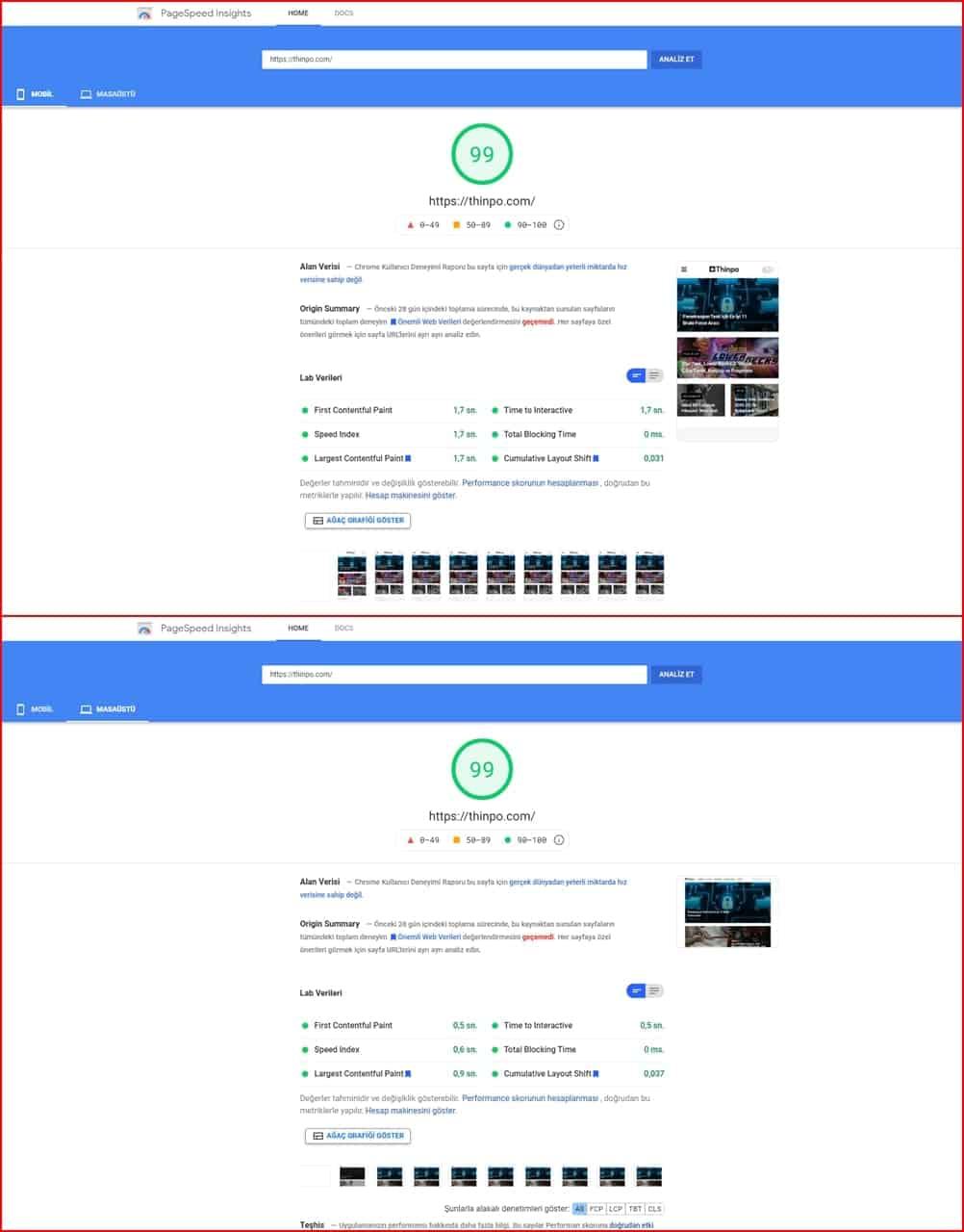 Google Pagespeed Hız Testi Sonuçları